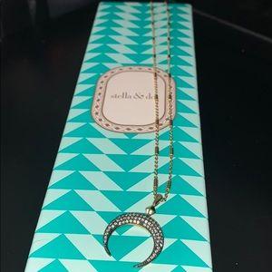 Stella & dot pave half moon necklace